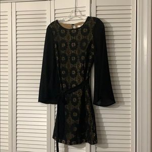 Esley Lace Dress w. Tie And Bell Sleeves